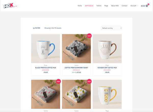 Custom Printing Pro Advanced eCommerce Theme Shop Page