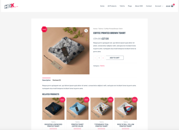 Custom Printing Pro Advanced eCommerce Theme Product Page