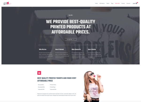 Custom Printing Pro Advanced eCommerce Theme About Page
