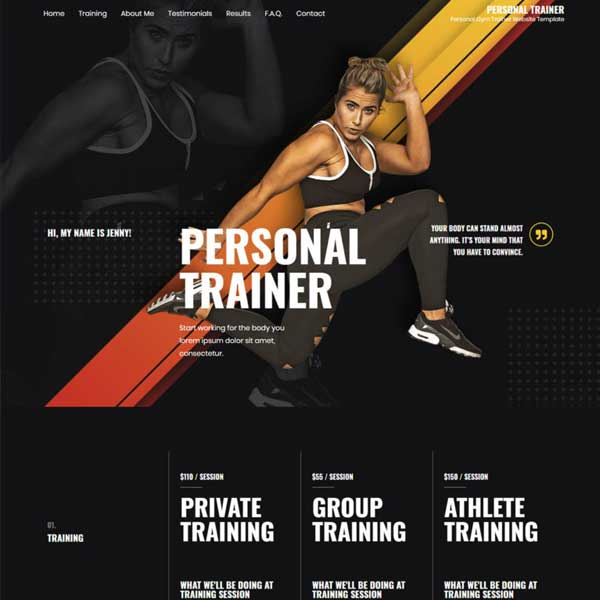 Personal Trainer eCommerce WordPress WooCommerce Custom Website