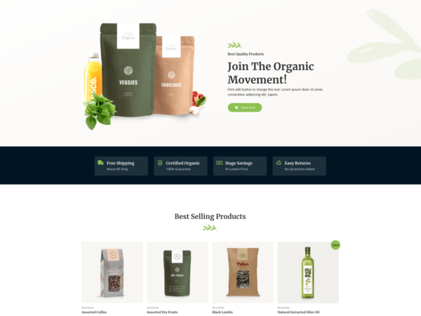 Amazing Organic Store Unbelievable eCommerce Theme