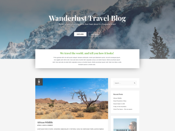 #1 Glorious Wanderlust Travel Diary Hotel Theme