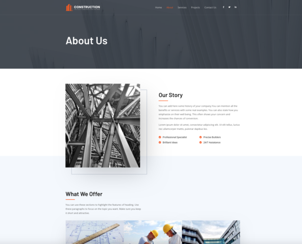 #1 Kickass Urban Construction Partner Business Theme