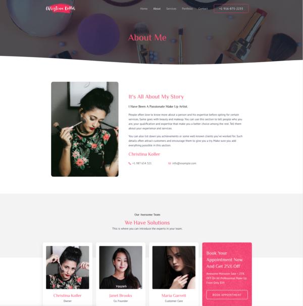 #1 Inspiring Makeup Artist Business Theme
