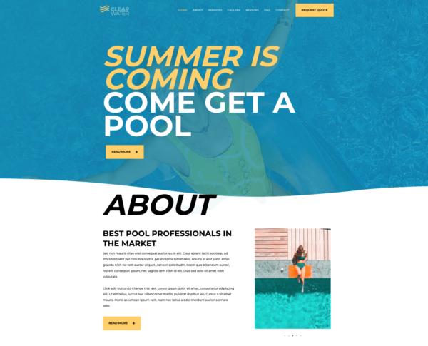 #1 Fantasy Swimming Pool Services Business Theme