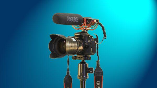 camera, canon, microphone